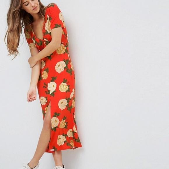 2c5b9e5c685 ASOS Petite City Maxi Tea Dress V Neck Button